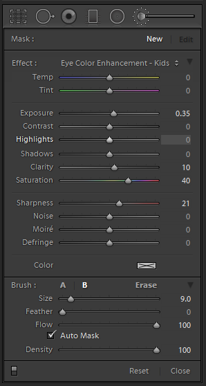 Lightroom Adjustment Brush Settings - Eye Color Enhancement. Exposure +0.35, Clarity +10, Saturation +40, Sharpness +21