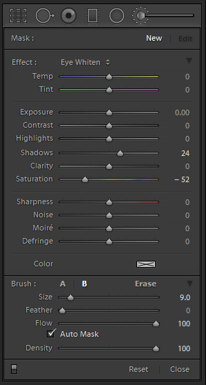 Lightroom Adjustment Brush Settings - Eye Color Enhancement. Shadows +24, Saturation -52